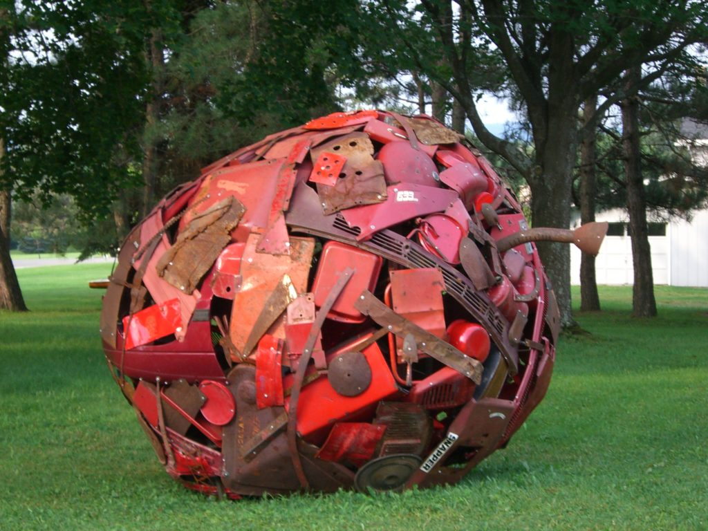 Apple sculpture by Leo Sewell recycled material art